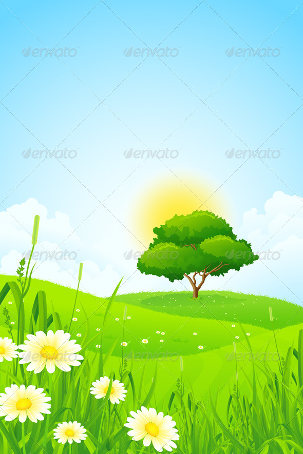 GraphicRiver Green Landscape with Tree 6951489