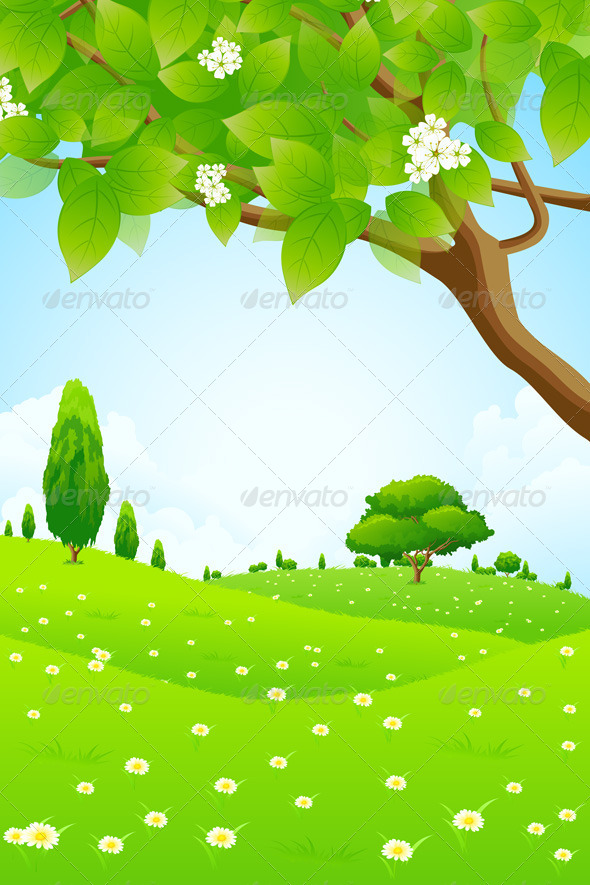 GraphicRiver Green Landscape with Flowers 6951490