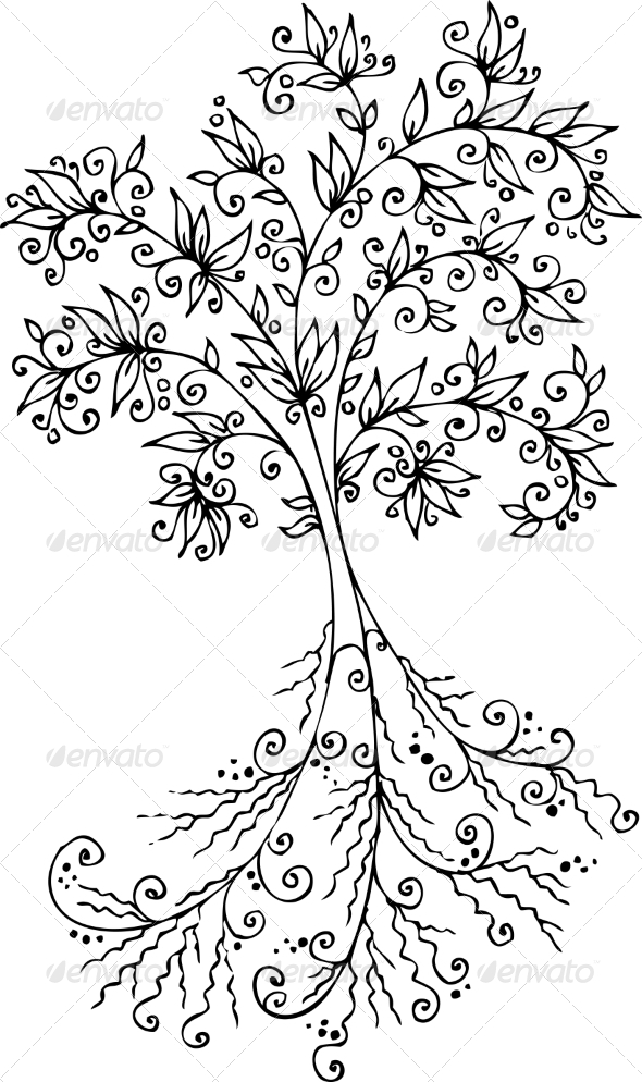 GraphicRiver Floral Decorative Tree Vignette #300 6951794