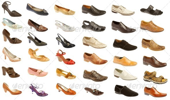 Man's and female footwea - Stock Photo - Images