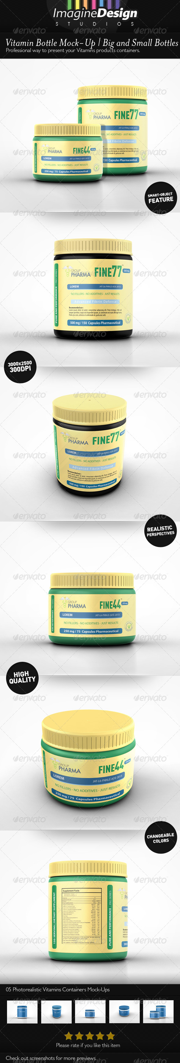 GraphicRiver Vitamin Bottle Mockup 6952031