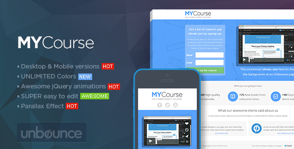 ThemeForest MYCourse Unbounce eCourse Landing page Template 6952837