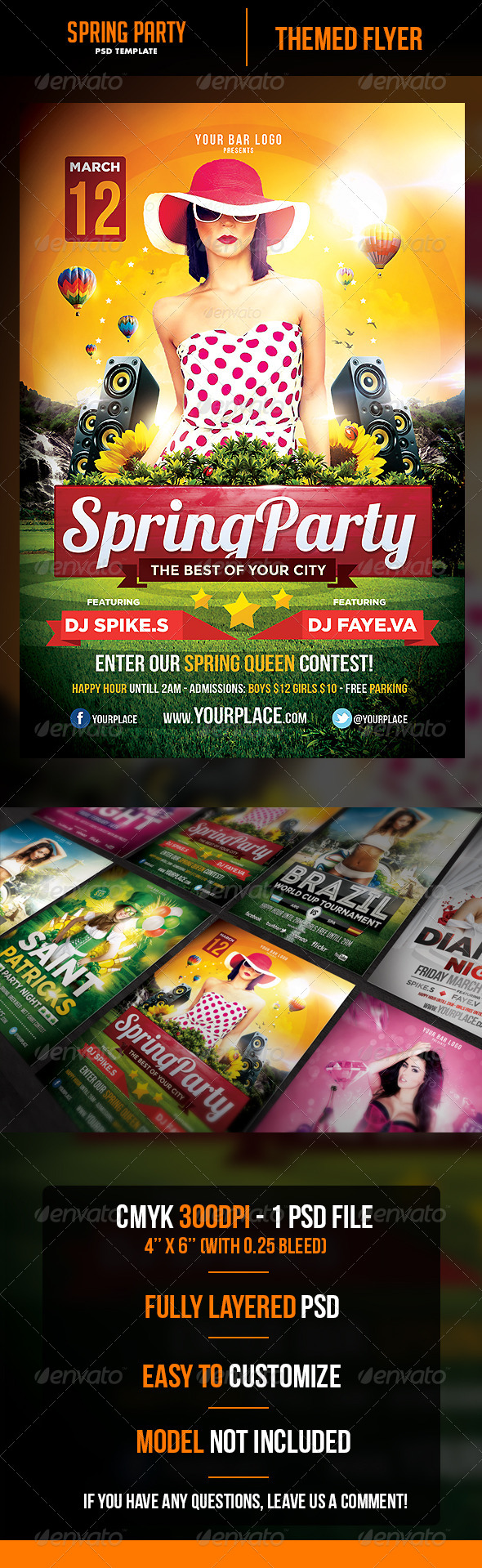 GraphicRiver Spring Party Flyer Template 6952904