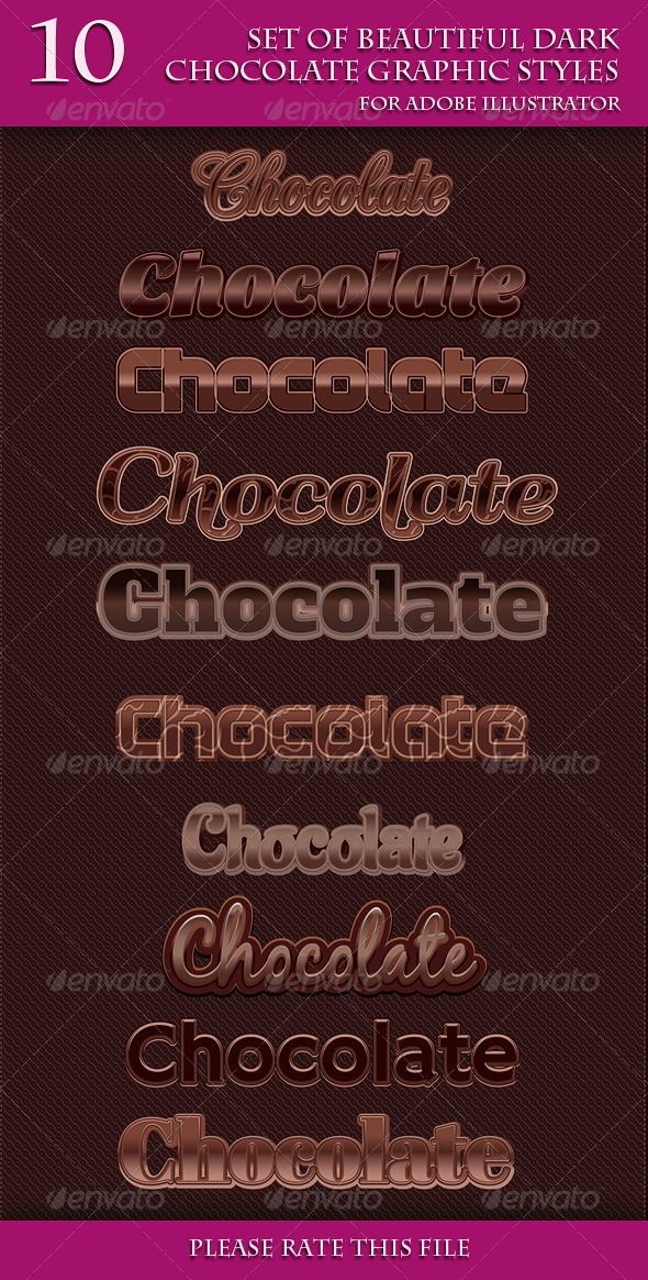 GraphicRiver Set of Beautiful Dark Chocolate Graphic Styles 6953004