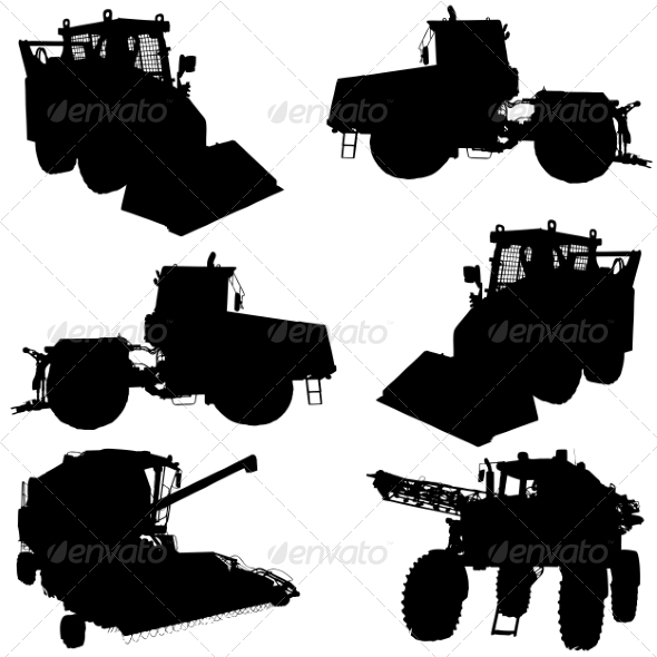 GraphicRiver Agricultural Vehicle Silhouettes Set 6953257