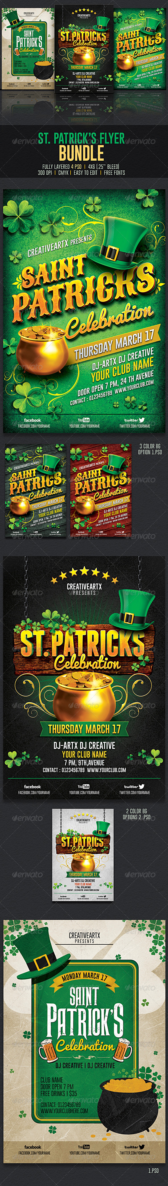GraphicRiver St Patrick s Flyer Bundle 6954290