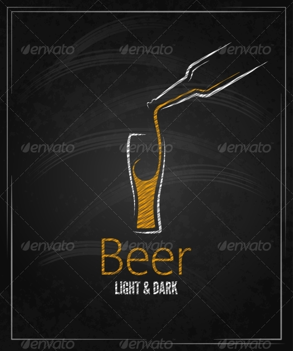 GraphicRiver Beer Glass Chalkboard Menu Background 6955774