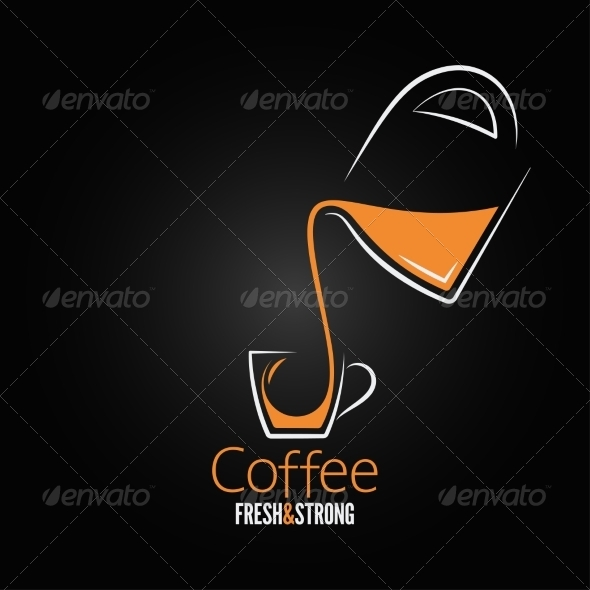GraphicRiver Coffee Cup Glass Pot Design Background 6955776