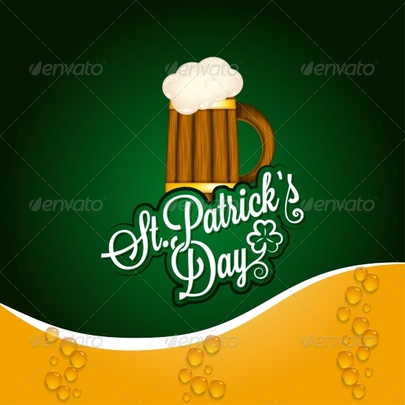 GraphicRiver Patrick Day Beer Mug Vintage Background 6955786