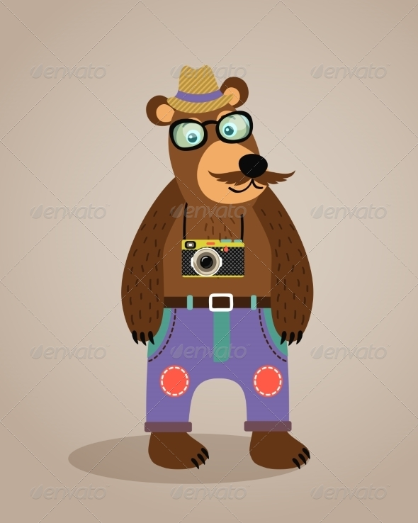 GraphicRiver Hipster Geek Animal Teddy Bear 6957801