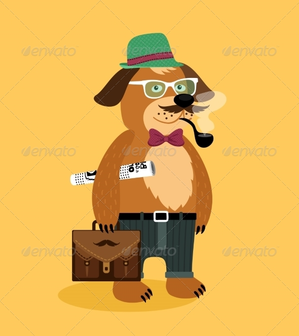 GraphicRiver Hipster Nerd Puppy Dog 6957802
