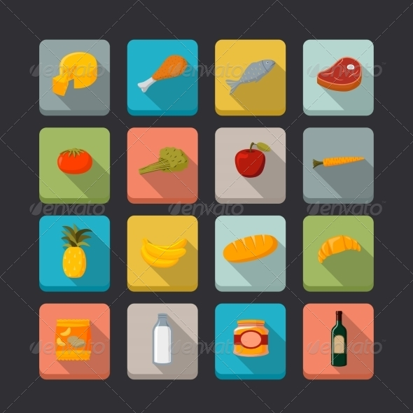 GraphicRiver Supermarket Food Icons Set 6957826