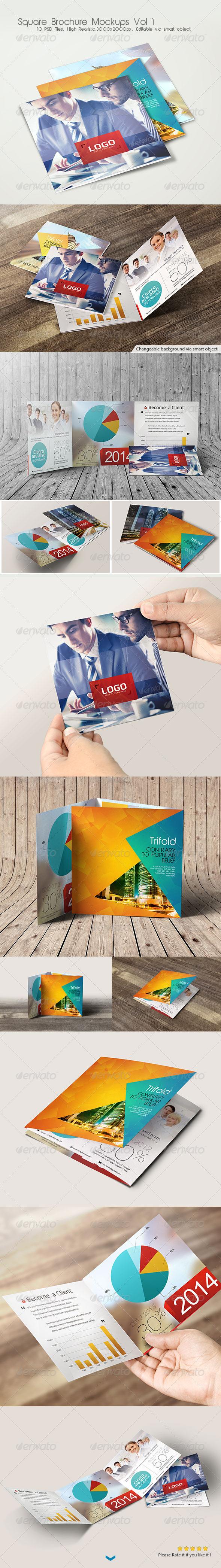 GraphicRiver Square Brochure Mockups Vol 1 6949521