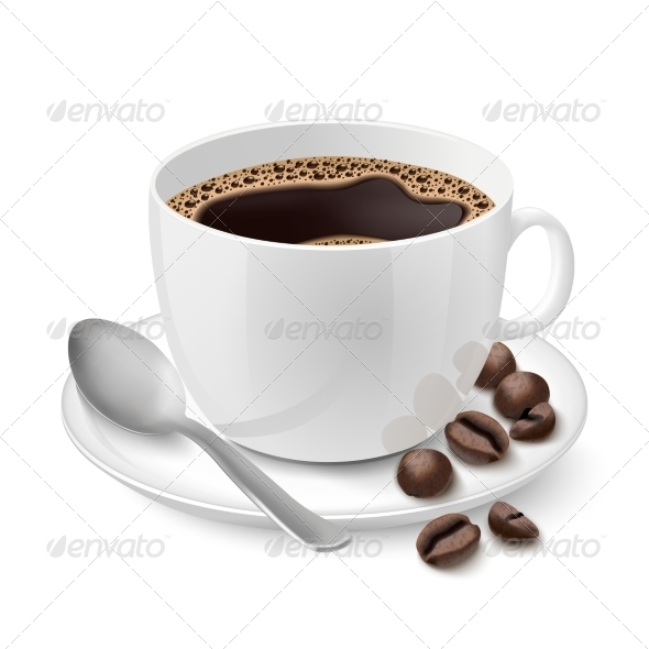 Realistic White Cup Filled with Espresso
