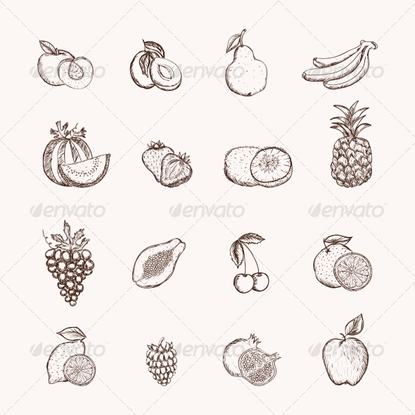 GraphicRiver Fruits Icons Set 6958384