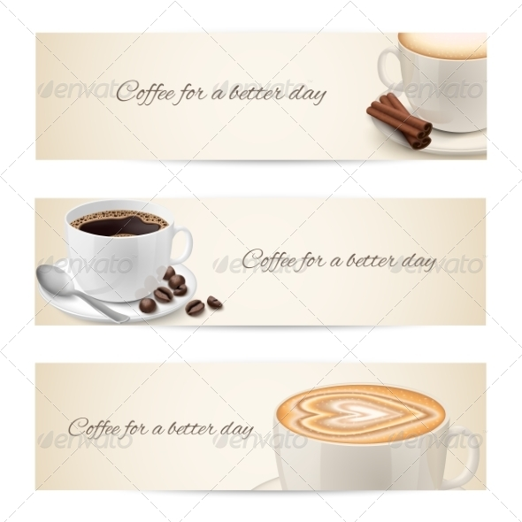 GraphicRiver Collection of Banners with Coffee Cups 6958435