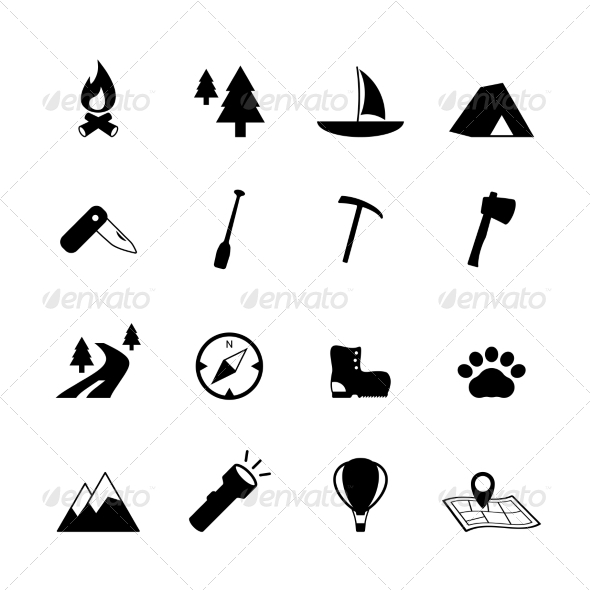 GraphicRiver Outdoors Tourism Camping Pictograms 6958439