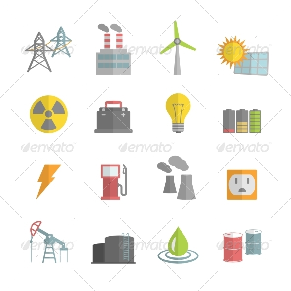 GraphicRiver Energy Power Flat Icons Set 6958445