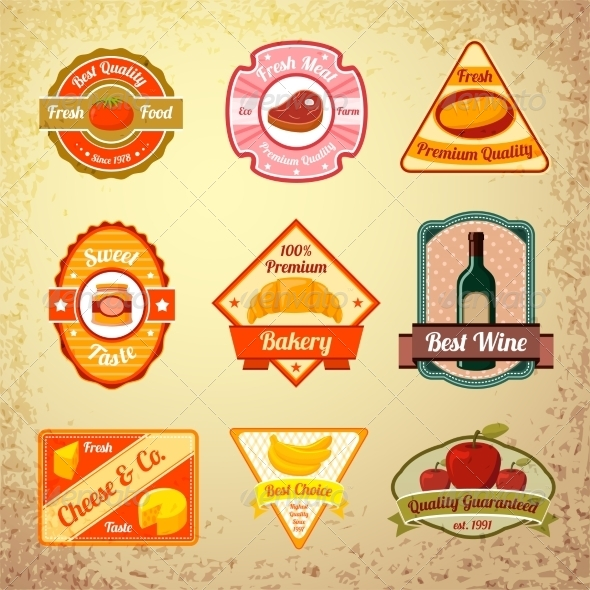 GraphicRiver Collection of Food Stamps or Labels 6958661