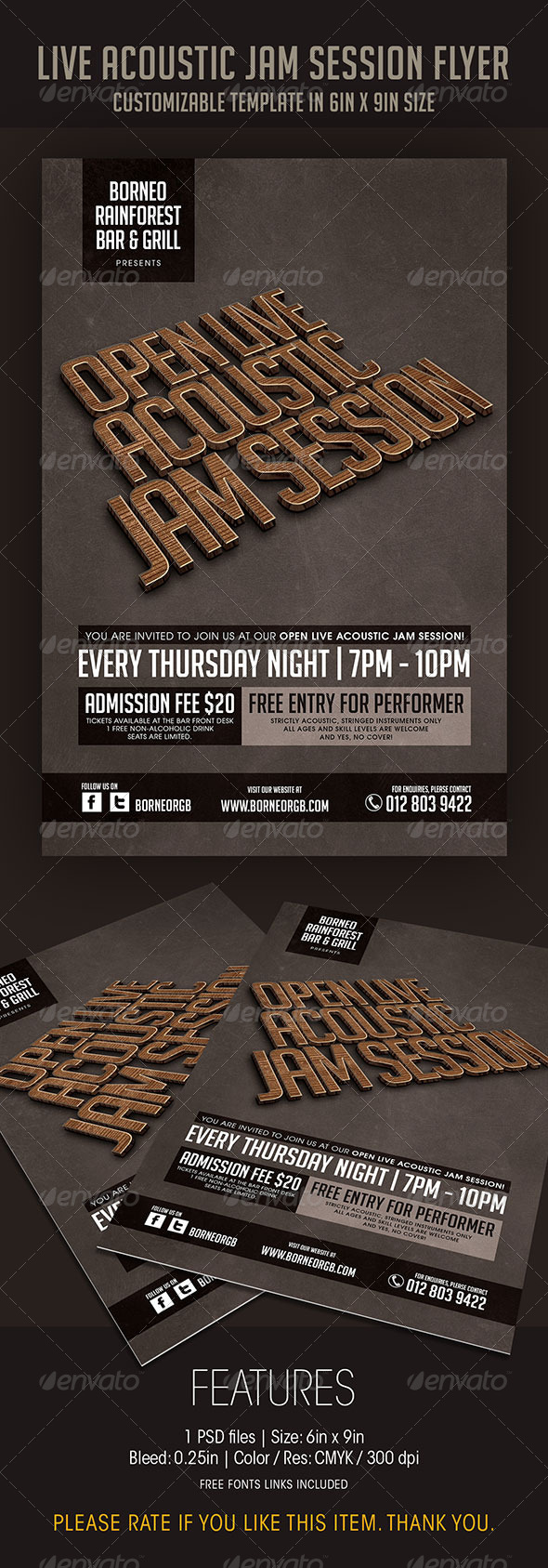 GraphicRiver Open Acoustic Jam Session Flyer 6958686