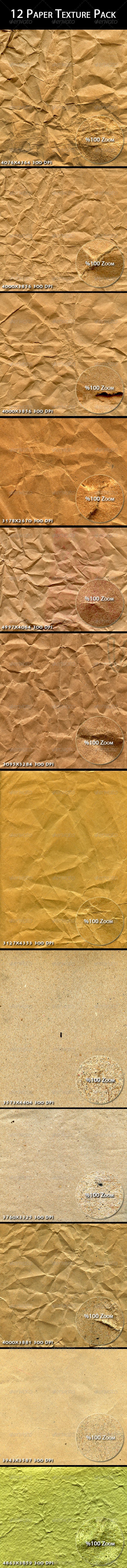GraphicRiver 12 Paper Texture Pack 6958691