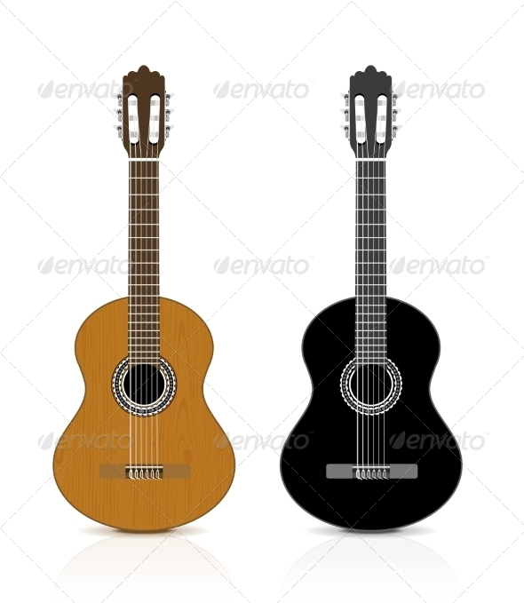 GraphicRiver Classical Guitar on White Background 6958699