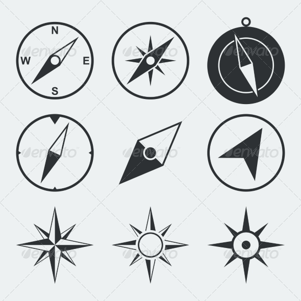 GraphicRiver Navigation Compass Flat Icons Set 6958706