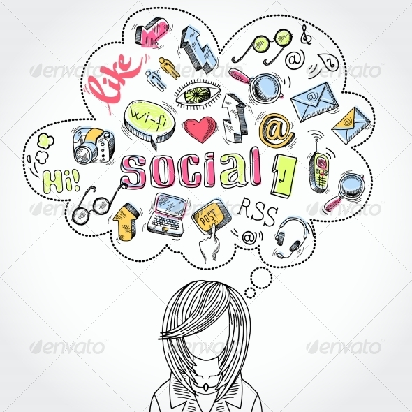 GraphicRiver Doodle Social Media Dreams and Thoughts 6958744