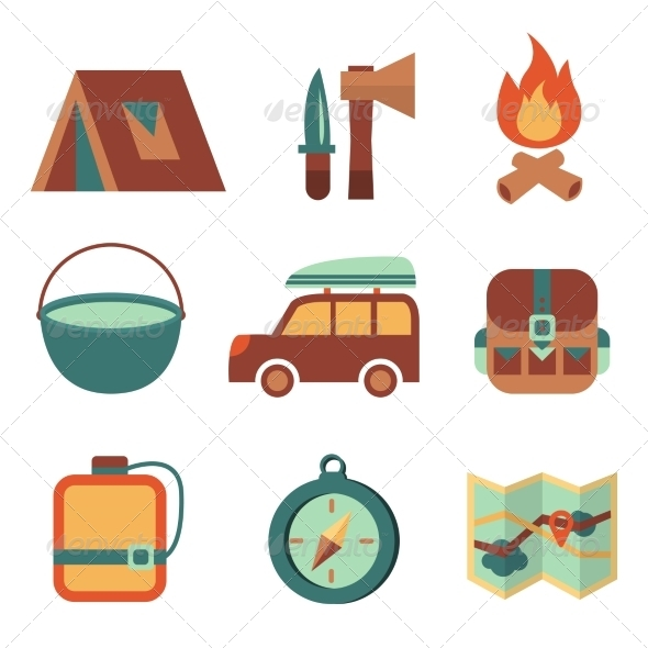 GraphicRiver Outdoors Tourism Camping Flat Icons Set 6958825