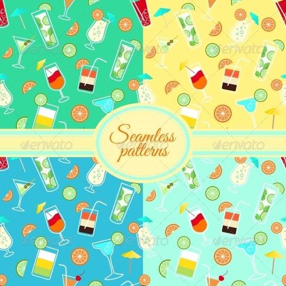 GraphicRiver Collection of Seamless Patterns with Cocktail Drinks 6958849