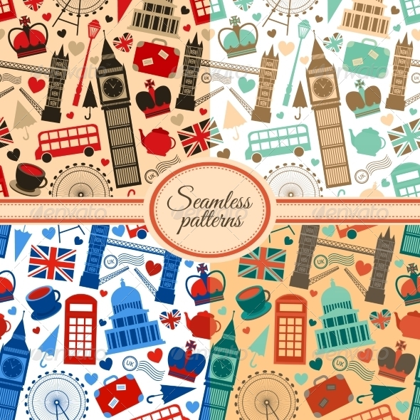 GraphicRiver Collection of Seamless Patterns with London 6958878