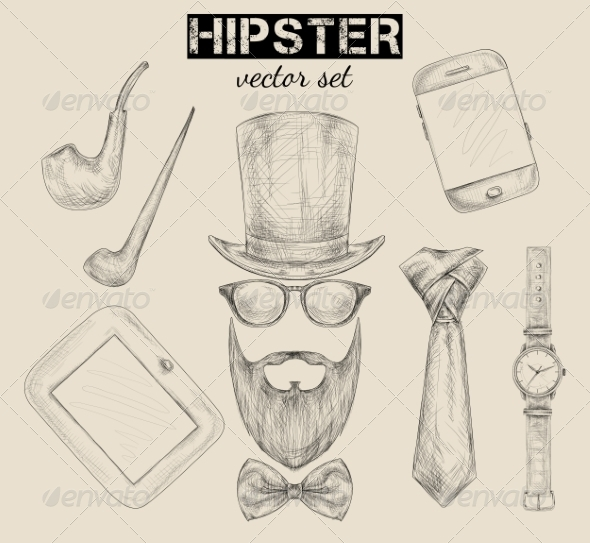 GraphicRiver Hand Drawn Hipster Accessories Set 6958891