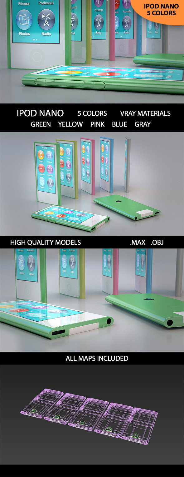 3D Ipod Nano 5 Colors