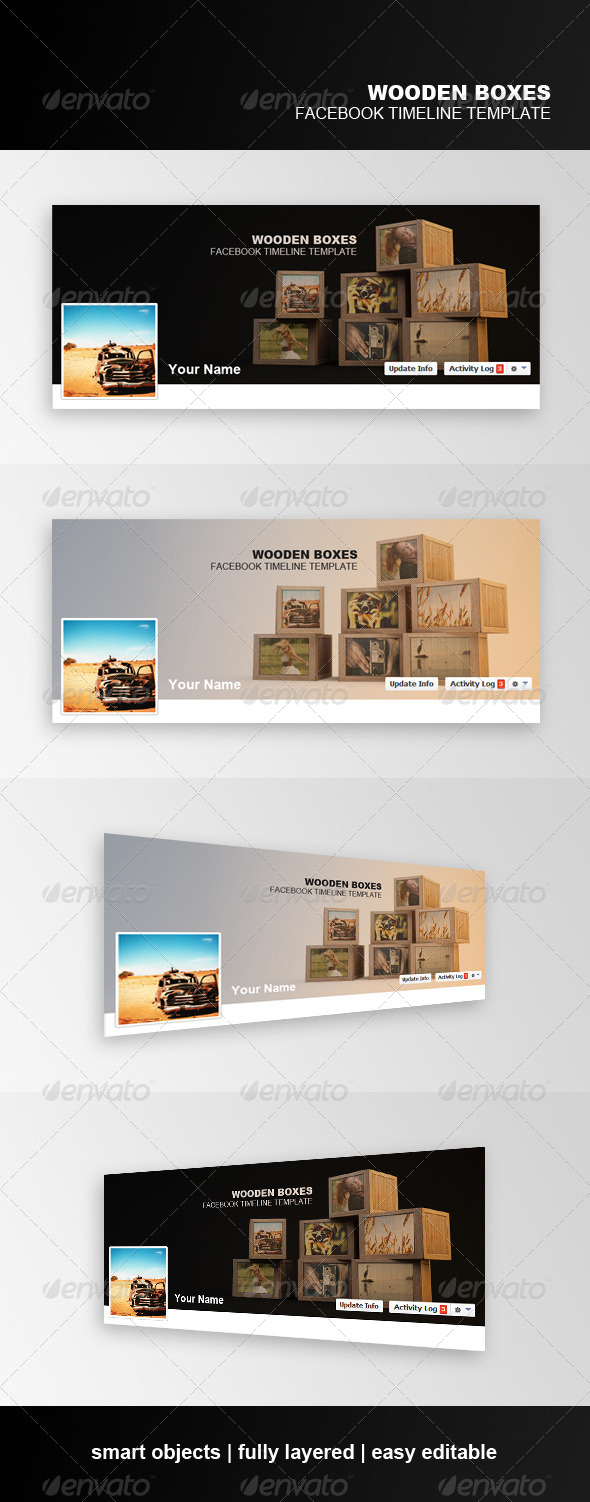 GraphicRiver Wooden Boxes Facebook Timeline Template 6959397