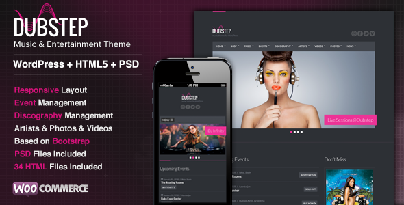 Dubstep - Premium Music WordPress Theme - Music and Bands Entertainment