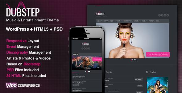 ThemeForest Dubstep Premium Music WordPress Theme 6959617