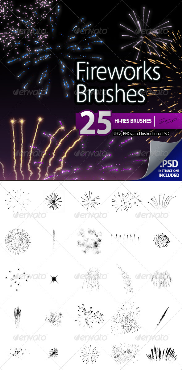 GraphicRiver 25 Hi-Res Fireworks Brushes 6959627