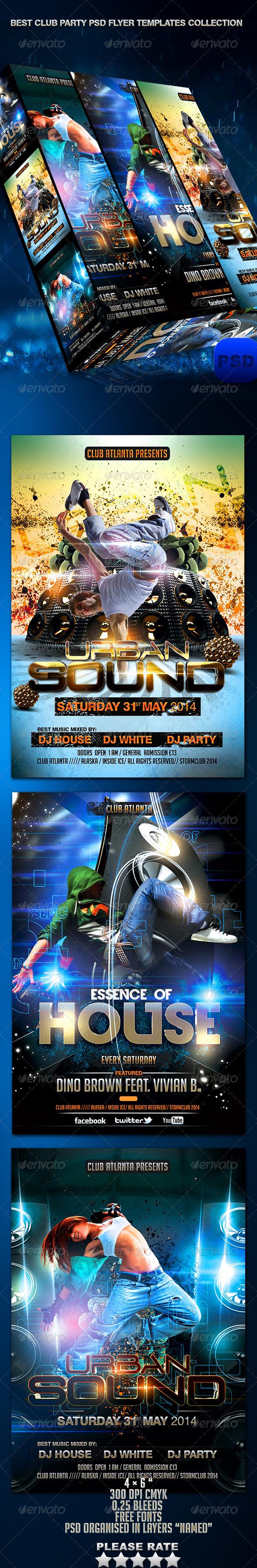 GraphicRiver Best Club Party PSD Flyer Templates Bundle 6960421