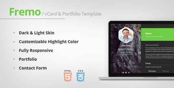 ThemeForest Fremo Responsive vCard & Portfolio Template 6961174