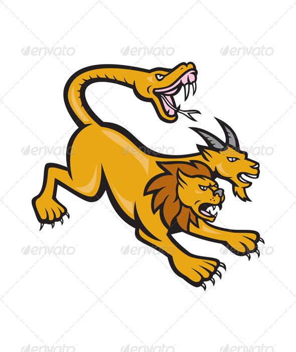 GraphicRiver Chimera Attacking Side Cartoon 6961185