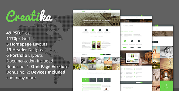 ThemeForest Creatika Responsive Business PSD Template 6929139