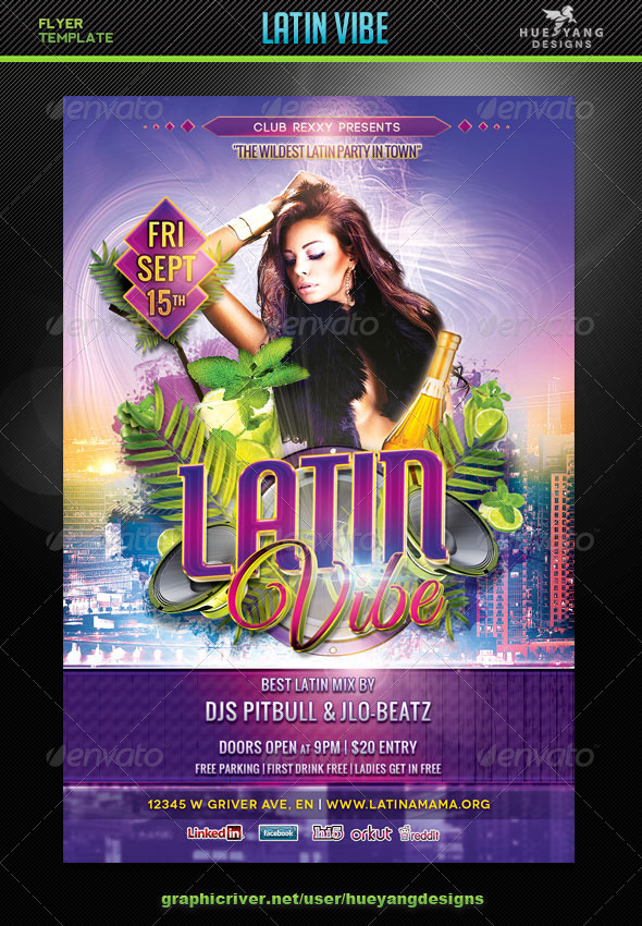 Latin Vibe Flyer Template - Clubs & Parties Events