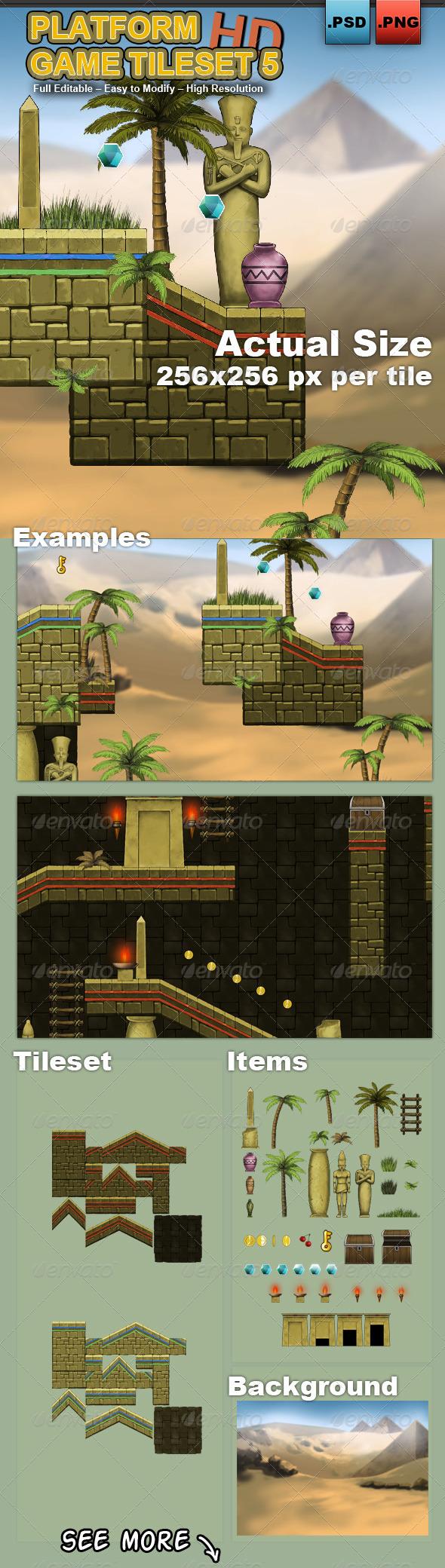 Platform Game Tileset 5 HD