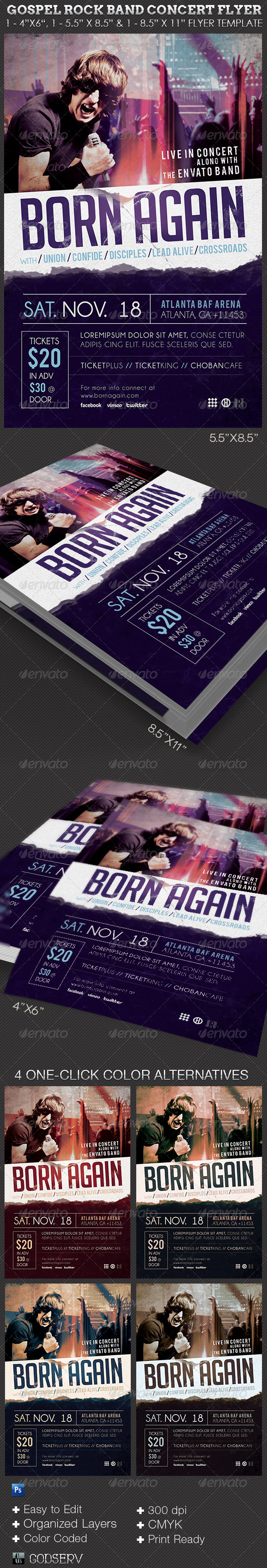 Gospel Rock Band Concert Flyer Template - Church Flyers