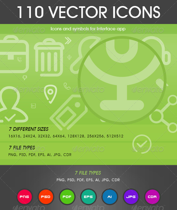 GraphicRiver 110 Vector Icons 6915560