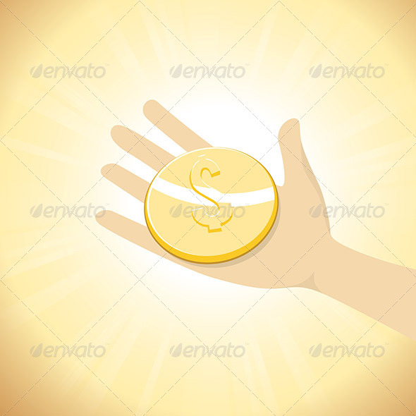GraphicRiver Dollar Coin in Hand 6962120