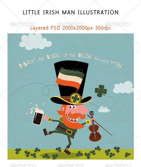 GraphicRiver Leprechaun Dancing with Irish Shamrock 6962391