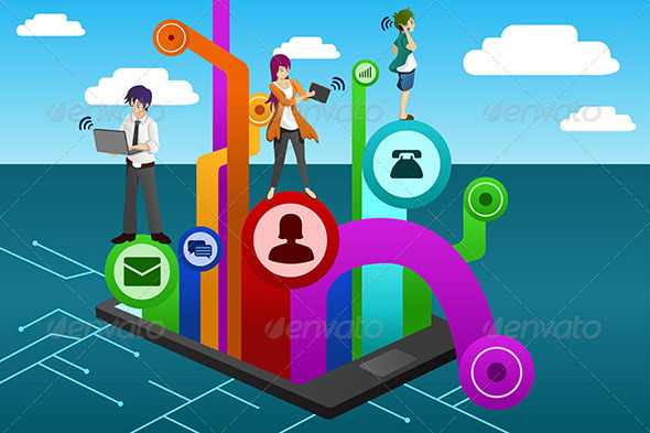 GraphicRiver People Using Different Mobile Device 6962909