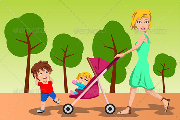 GraphicRiver Mother Walking with her Kids 6963196