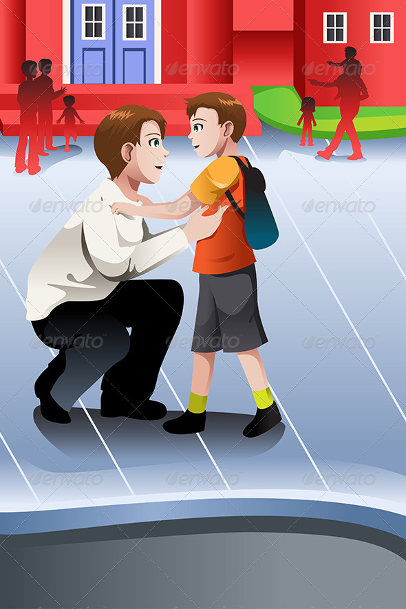 GraphicRiver Father Picks Up his Son from School 6963542
